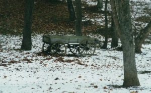 Old wagon on country road, 2000
